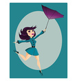 Beautiful pin up girl with flipped umbrella vector