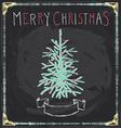 Vintage merry christmas tree chalkboard hand drawn vector