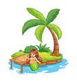 A fat mermaid at the beach vector