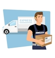 Delivery service man with a box in his hands and vector