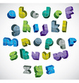 3d colorful letters futuristic alphabet made with vector