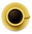 A yellow cup with coffee vector