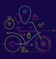 Bicycle on a dark background with different spor vector