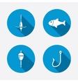 Fishing icons fish with fishermen hook symbol vector