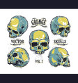 Skulls hand drawn set 3 vector