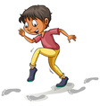 A boy following the footprints vector