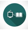 Tv and book exchange icon vector