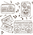Collection of retro music hand-drawn vector