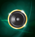 Speaker on green neon background vector
