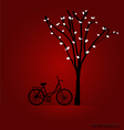 Bicycle under tree background vector