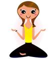 Lady sitting in yoga lotus pose vector