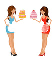 Beautiful girls with cake vector