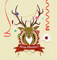 Vintage christmas card with deer vector