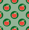 Apple pattern seamless texture with ripe red vector