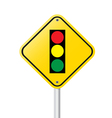 Traffic light over yellow sign vector