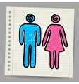 Male female doodle signs vector