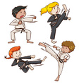 Simple sketch of people engaging in martial arts vector