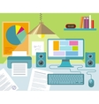 Workplace with notebook lamp books and furniture vector