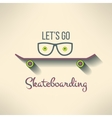 Skateboard background with hipster glasses vector