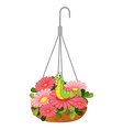 A hanging pot with plants and a worm vector