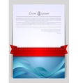 Wavy background flyer with red ribbon vector