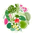 Background of stylized tropical plants leaves and vector