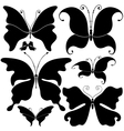 Set black butterflies vector