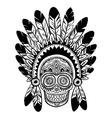 Vintage ethnic hand drawn human skull vector