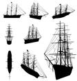 Old ship silhouette vector