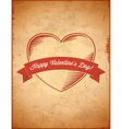 Aged vintage valentines day card with ribbon vector