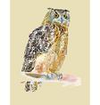 Original watercolor painting of bird ow vector