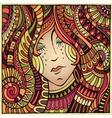 Decorative autumn girl portrait vector