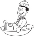 Cartoon boy on a snow sled vector