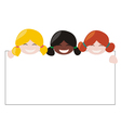 Mulicultural girls holding white empty banner vector