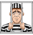 Sad prisoner behind bars vector