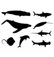 Set of sea life silhouettes vector