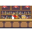 Bar restaurant cafe with barkeeper character vector