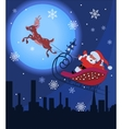 Santa claus and rudolf in christmas night vector