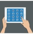 Tablet pc with social media icons vector