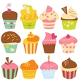 Cute cupcakes set vector