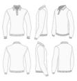 Mens white long sleeve polo shirt vector