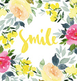 Greeting card flowers watercolor vector