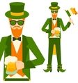 Saint patricks day with hipster leprechaun vector