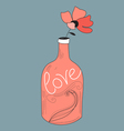 Bottle with a flower vector