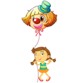 A young girl holding a clown balloon vector