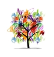 Abstract tree with children paintings vector