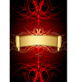 Gold scroll on red background vector