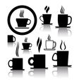 Coffee and tea cup icons vector