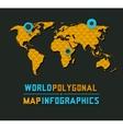 Retro polygonal world map vector