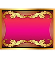 Pink background with gold ornament of leaves vector